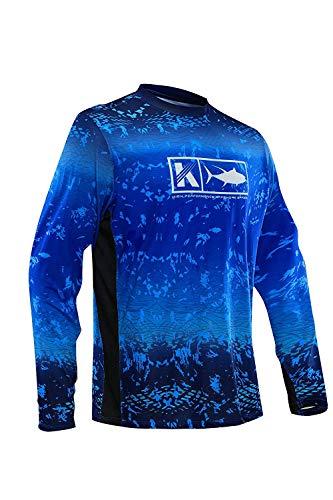 Performance Vented Fishing Shirt Long Sleeve Shirt Mesh Side Vents UPF 50 Dye Sublimation Print,Blue, X-Large