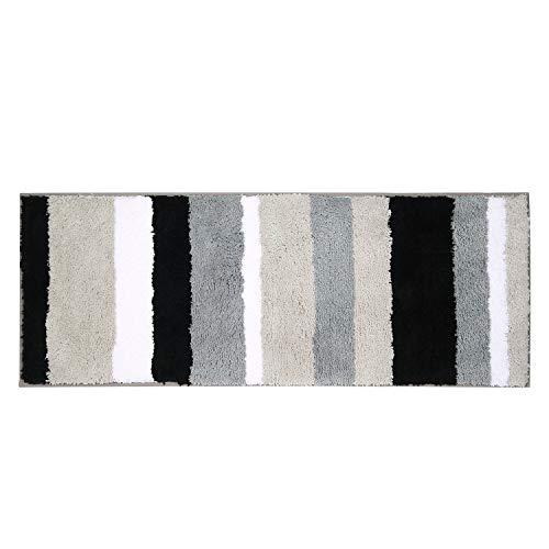 Pauwer Tapis de Bain Tapis de Douche Super Absorbant antidérapant Lavable pour Salle de Bain (45X120cm, Noir/Gris)