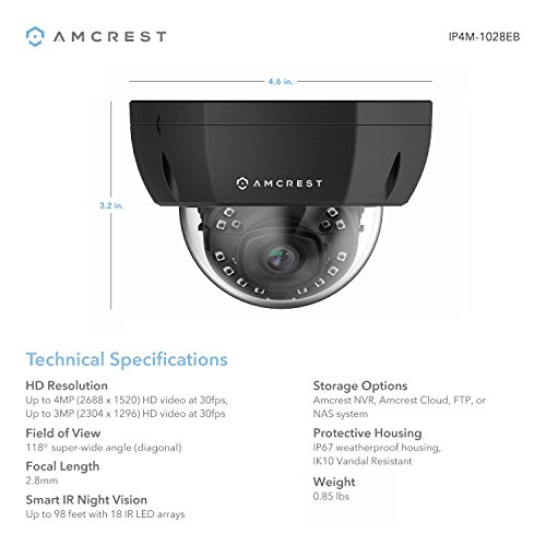 3.6mm Wide Angle Lens 8 x 4-Megapixel IP67 Weatherproof Metal Bullet /& Dome POE IP Cameras Black 98 Feet Night Vision Pre-Installed 4TB HDD, Amcrest 16CH 4MP Security Camera System w// 4K NVR