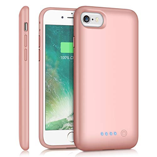 Feob Battery Case for iPhone 8/7 /6s/6, 6000mAh Portable Charging Case Extended Battery Pack for iPhone 8/7 /6s/ 6 Rechargeable Charger Case [4.7 inch]-Rose Gold