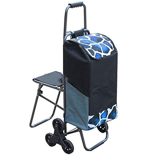 FANMENGY Carrito de la compra plegable Oxford de tela 6 ruedas carrito de la compra impermeable impreso carrito de escalada carro con taburete para el hogar ligero carrito de la compra (color: azul