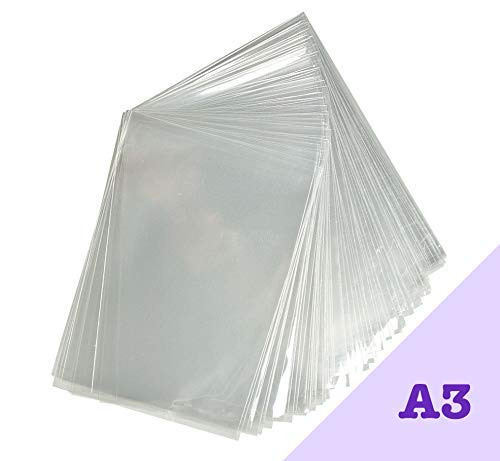 Cellophanbeutel in A3, 100Stück, klar und gute Dicke, gute Passform für Kunstwerke/Fotos in Größe A 3 - teure Optik für Ihre Kunstwerke, 30mm Klebestreifen - 40Micron