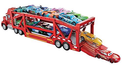 Disney - Cars Camión Mack Gran Viaje, transportador de coches de juguete (Mattel GVP73)