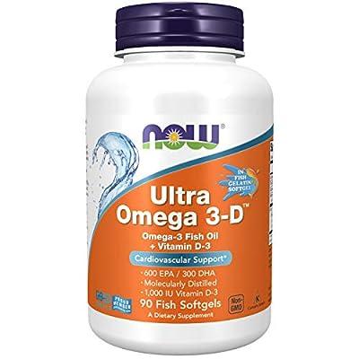 NOW Supplements, Ultra Omega 3-D, Omega-3 Fish Oil + Vitamin D-3, 90 Softgels