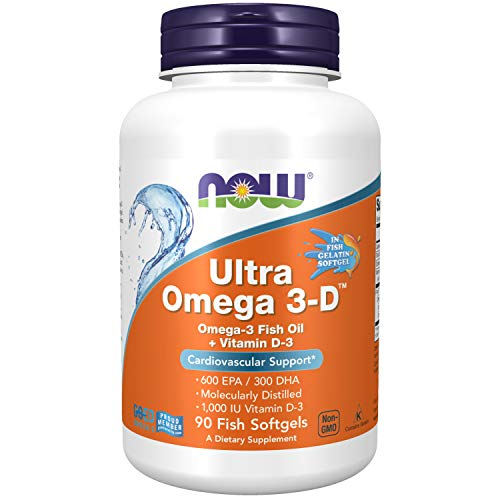 NOW Supplements Ultra Omega 3D Omega3 Fish Oil  Vitamin D3 90 Softgels
