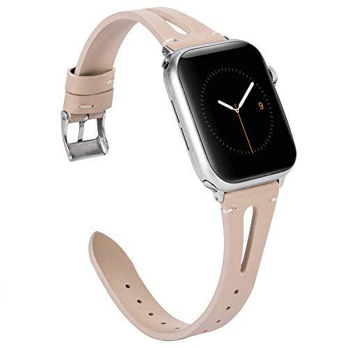 Wearlizer für Apple Watch 38mm Armband Leder, Echtleder X Band für iWatch Straps Ersatz Lederarmband 38mm 40mm für Apple Watch Series 4 3 2 1 - Beige