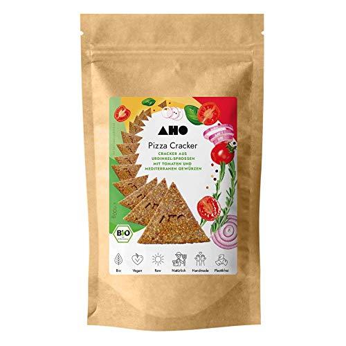 AHO Pizza Cracker aus Bio Urdinkel-Sprossen | Rohkostcracker aus gekeimtem Urgetreide aus deutschem Bio-Anbau | Superfood Sprossencracker | 100% Bio, Vegan, Raw | Plastikfrei verpackt (100g)