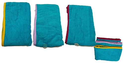 100% algodón secado rápido pelo toalla turbante Twist Wrap