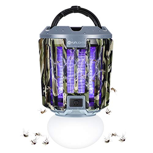 YUNLIGHTS Bug Zapper Light, 2 in 1 Portable LED Mosquito Killer Lamp Rechargeable Killer Lights, IPX6 Waterproof Mosquito Zapper Indoor & Outdoor for Patio, Porch, Home, Camping, Hiking, Tent