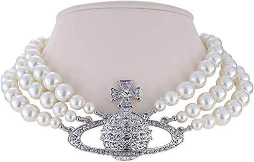 FRHKFJYKH Saturno Collar de Perlas de Tres Capas Collares de Perlas Blancas Collar de Perlas de Diamantes de Imitación de Cristal para Mujeres Mejor Amiga Novia Cumpleaños Aniversario,Plata,Silver