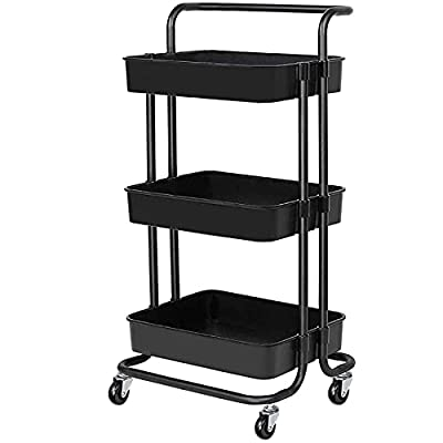 YANXUS 3-Tier Rolling Utility Cart with Handle Makeup Cart with Roller Wheels Mobile Storage Organizer for Kitchen, Bathroom, Office, Coffee Bar