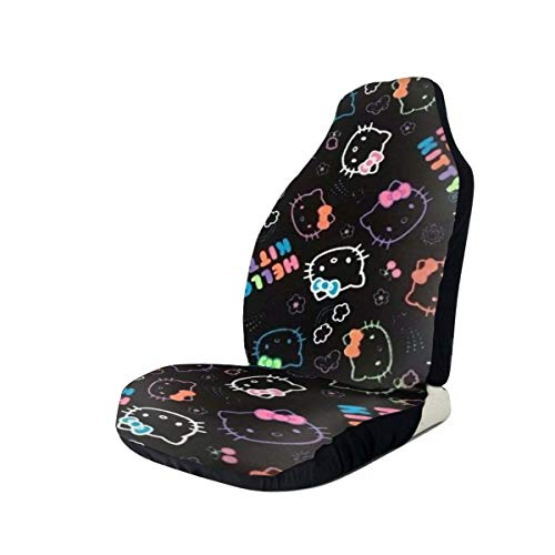 Heavenly Battle Black Hello Kitty Car Seat Covers Accessories Set Super Soft Vehicle Seat Decoration Protector Cover Bag 2 Pieces Set