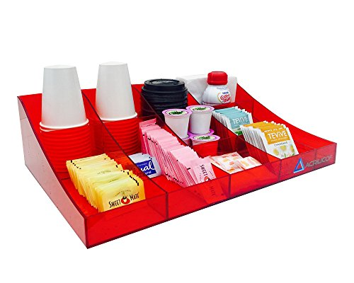 Premium Quality Coffee Condiment Organizer - 11 Compartments (Red)