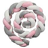 JOLYFANG Tour de Lit Bébé 2m Coussin Serpent Tressé Pare-chocs Décoration Protection lit Bumper Pépinière Pour les Nouveau-nés lit (Blanc + rose + gris)