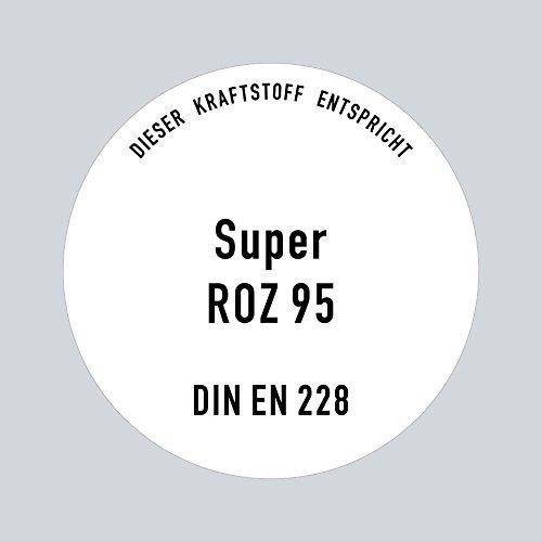 Aufkleber Sticker 10cm ROZ 95 Super Benzin DIN EN 228 Kraftstoff Tank Kanister Tankstelle Zapfsäule Hinweis (1)