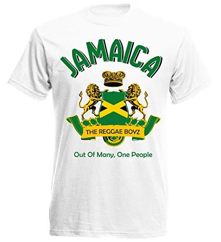 Nation Jamaica Camiseta bandera León Blanco S