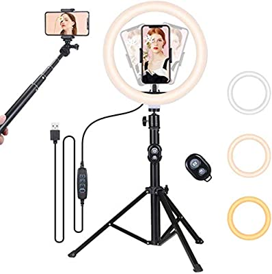 10'' LED Selfie Ring Light with Tripod Stand & 2 Phone Holder, Tomshine Dimmable LED Camera Ring Light for Live Stream, YouTube, Compatible with iPhone/Android by Tomshine