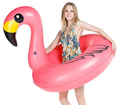 Jasonwell Giant Inflatable Flamingo Pool Float Party Float Tube with Fast Valves Summer Beach Swimming Pool Lounge Raft Decorations Toys for Adults & Kids