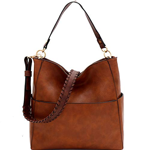 """Dimensions - 17.6""""L x 6""""W x 13.6""""H, 7.2""""drop strap/Optional whipstitched shoulder strapFaux-leather/Gold-tone hardware/Interior - 1 zip and 2 slip pockets/Exterior - 1 front, 2 side, and 1 rear zip pocket/Closure - zipper/ Trendeology is a trademarke..."""