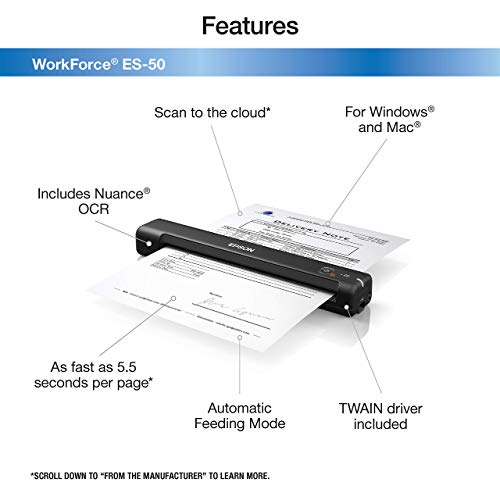 Epson Workforce ES-50 Portable Sheet-fed Document Scanner for PC and Mac (Renewed) Photo #4