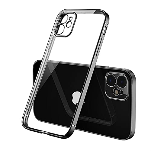 CGGA Funda de lujo transparente con marco cuadrado para iPhone 12 11 Pro Max Mini iPhone X Xs Xr 7 8 Plus SE 2020 suave TPU transparente cubierta (color negro, material: para iPhone 11 pro)