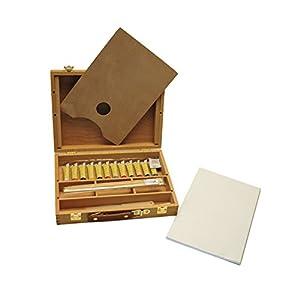 Artme Caja-Caballete de Madera Premium Set de 23 Piezas – Caballete de Mesa 32x24cm/ 3 Paneles de lienz / 12 Pinturas de acrílico/ 4 Pinceles/lápiz/Cuchillo de Paleta de plástico/Paleta