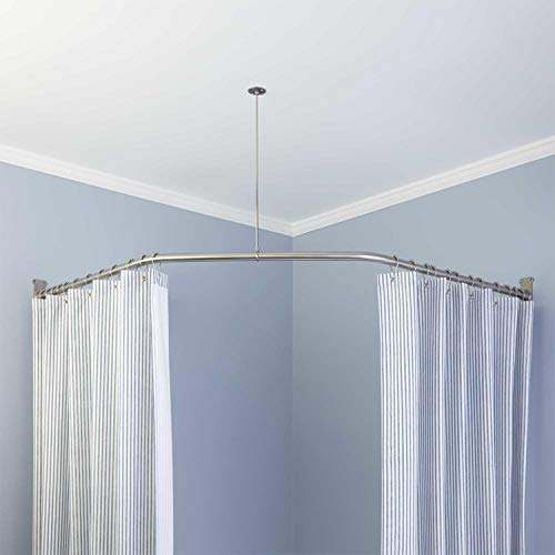 """Naiture Stainless Steel 18-1/2"""" X 26"""" X 18-1/2"""" Neo-Angle Shower Curtain Rod with Ceiling Support, Black Finish"""