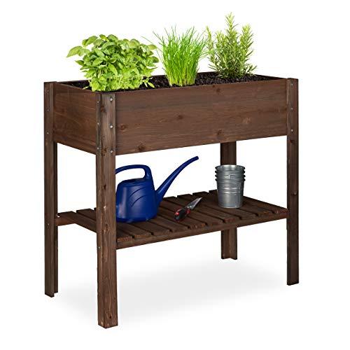Relaxdays Hochbeet Holz, Ablagefach, Pflanzkasten Balkon, Terrasse, Garten, Kräuterbeet, HBT 80x88x43,5cm, dunkelbraun