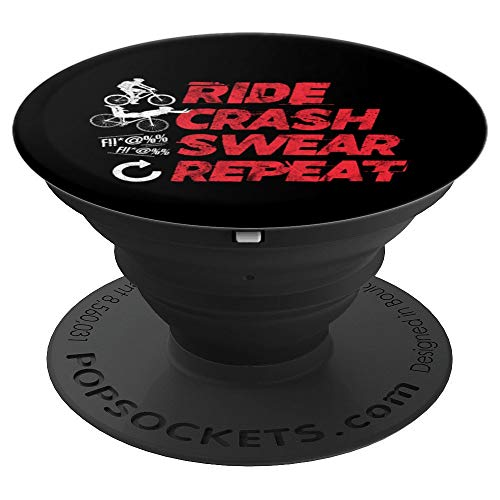 Ride Crash Swear Repeat Funny MTB Mountain Bike Cycling PopSockets Grip and Stand for Phones and Tablets