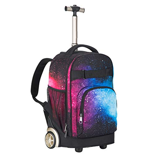 LHY EQUIPMENT Waterproof Wheeled Laptop Backpack with Wear-Resistant Wheels And Aluminum Trolley Large Capacity Wheeled Rucksack Rolling Trolley Bag,C
