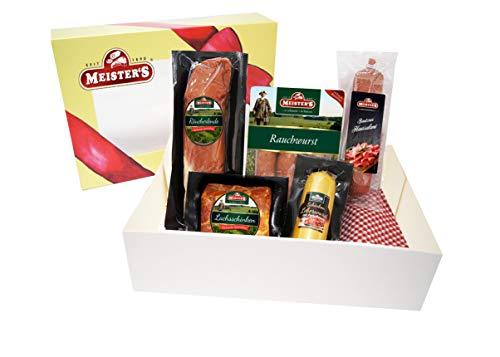Wurstpaket Geschenk | Schinken Salami Set | Lende geräuchert Leberwurst Preiselbeeren | BBQ Rauchwurst Schlemmer Box | Wurstgeschenk für Männer & Familie
