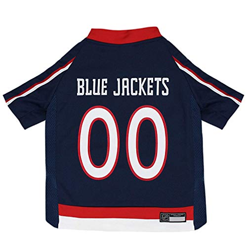 NHL Columbus Blue Jackets Jersey for Dogs & Cats, X-Large. - Let Your Pet Be A Real NHL Fan!