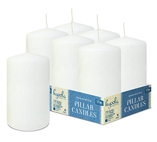 HYOOLA - Velas de pilar blancas de 3 x 5 pulgadas, sin perfume, 6 unidades, fabricado en Europa