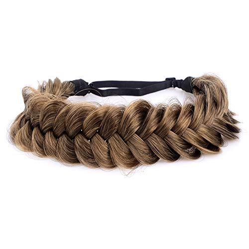 DIGUAN Messy Wide 2 Strands Synthetic Hair Braided Headband Classic Chunky Plaited Braids Elastic Stretch Hairpiece Women Girl Beauty Boho accessory, 62g/2.1 oz (Claybank)