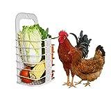 Chicken Vegetable Basket Chicken Veggie Ball Fruit Veggie Hanging Feeder Toy for Hens Chicken Coop Toys for Hens White
