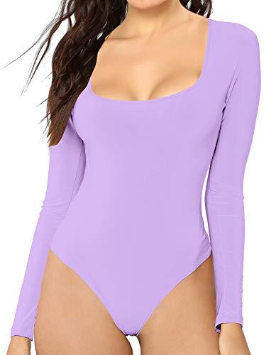 MANGDIUP Women's Scoop Neck Long Sleeve Basic Bodysuits Jumpsuits (Lavender Purple, L)