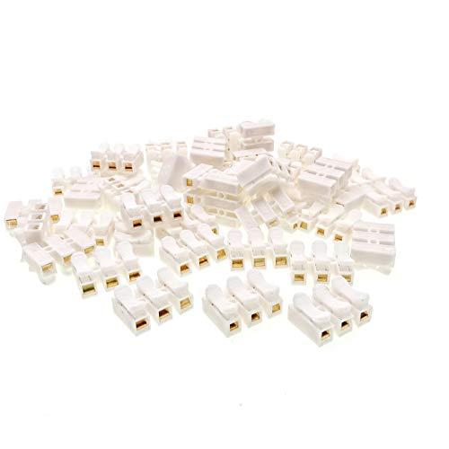 JZK 50 x CH3 Connettore Molla Rapido, Morsetto a Molla Connettore, Set Morsettiera Molla Rapido, morsettiere connettore per striscia di luci LED, filo di connessione