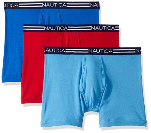Nautica Comfort Cotton Underwear Boxer Brief Multi Pack Ropa Interior de Hombres, Cobalto mar/Azul Aero/Rojo, XL
