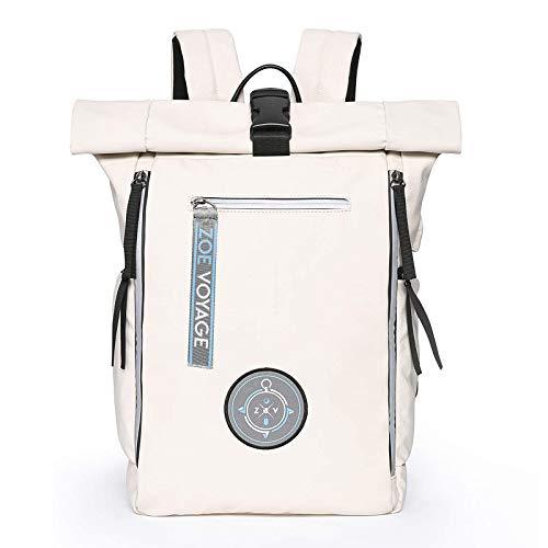 ZOE Voyage Rolltop Rucksack, wasserdicht, Tagesrucksack mit Laptopfach und USB Ladeanschluss, Reiserucksack beige 21-31l
