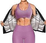 Bafully Traje de sauna de manga larga y cintura, entrenamiento de fitness, camiseta reductora para entrenamiento deportivo Negro M