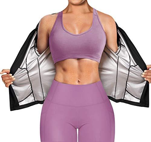 Bafully Traje de sauna de manga larga y cintura, entrenamiento de fitness,...