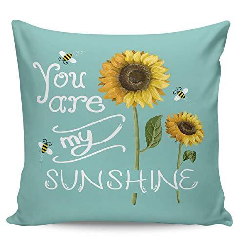 Funda De Almohada,Sunflower You Are My Sunshine Bee - Funda De Almohada Verde Azulado, Elegantes Fundas De Almohada para Exteriores E Interiores,45x45cm