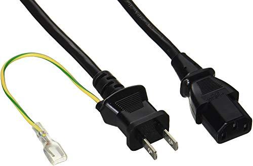 BUFFALO 電源ケーブル 3ピンソケット(メス)⇔2ピンプラグ(オス)2m BSACC0620BKA
