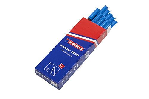edding 1200-010 - Rotulador con punta de fibra, 10 unidades, color azul claro