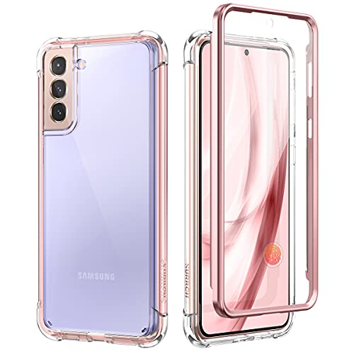 SURITCH Clear Case for Samsung Galaxy S21 Plus 5G,[Built in Screen Protector][Camera Lens Protection] Full Body Protective Shockproof Bumper Rugged Cover for Galaxy S21 Plus 6.7 Inch (Rose Gold)