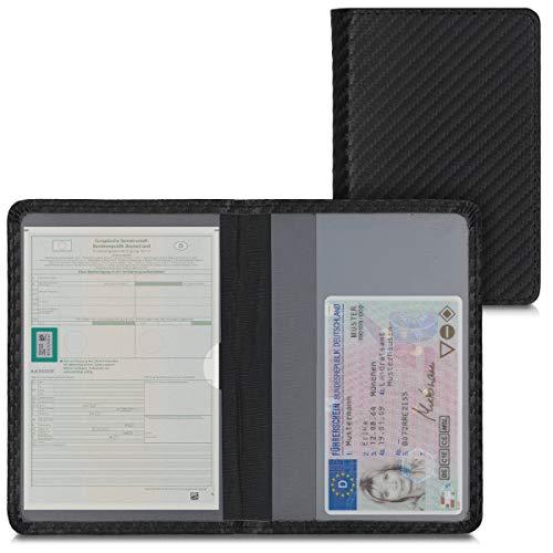 kwmobile Fahrzeugschein Hülle mit Kartenfächern - Kunstleder Etui Tasche Zulassungsbescheinigung Carbon Schwarz Rot