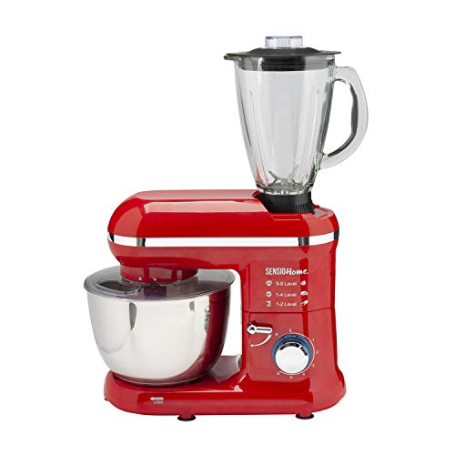 Sensio Home 2-in-1 Food Processor Blender & Stand Mixer Machine - 1300W Electric Motor - Dough Hook, Whisk, Beater, Splash Guard, 6-Speed - 4.5 Litre Stainless Steel Mixing Bowl - 1.5L Glass Jug - Red