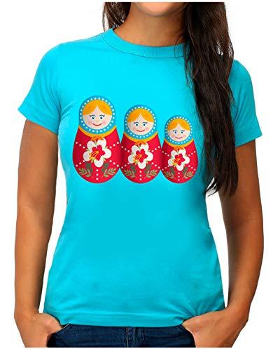 OM3® - Matryoshka - T-Shirt | Damen | Russische Matrjoshka Babuschka Puppen Printshirt | XL, Türkis