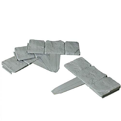 REALMAX® - Adoquín de plástico efecto piedra para jardín (bordillo), color gris oscuro, 10 unidades