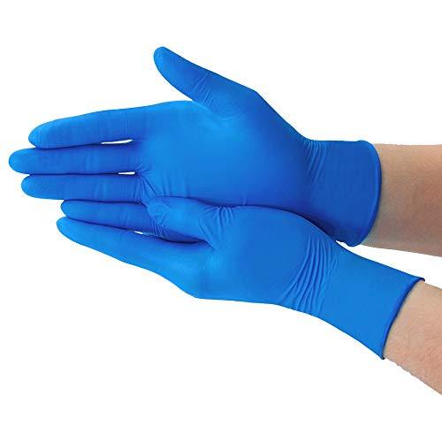 Axdwfd blauwe wegwerphandschoenen, medische handschoenen, slijtvast, verdikt, waterdicht, oliebestendig, 100 stuks per doos